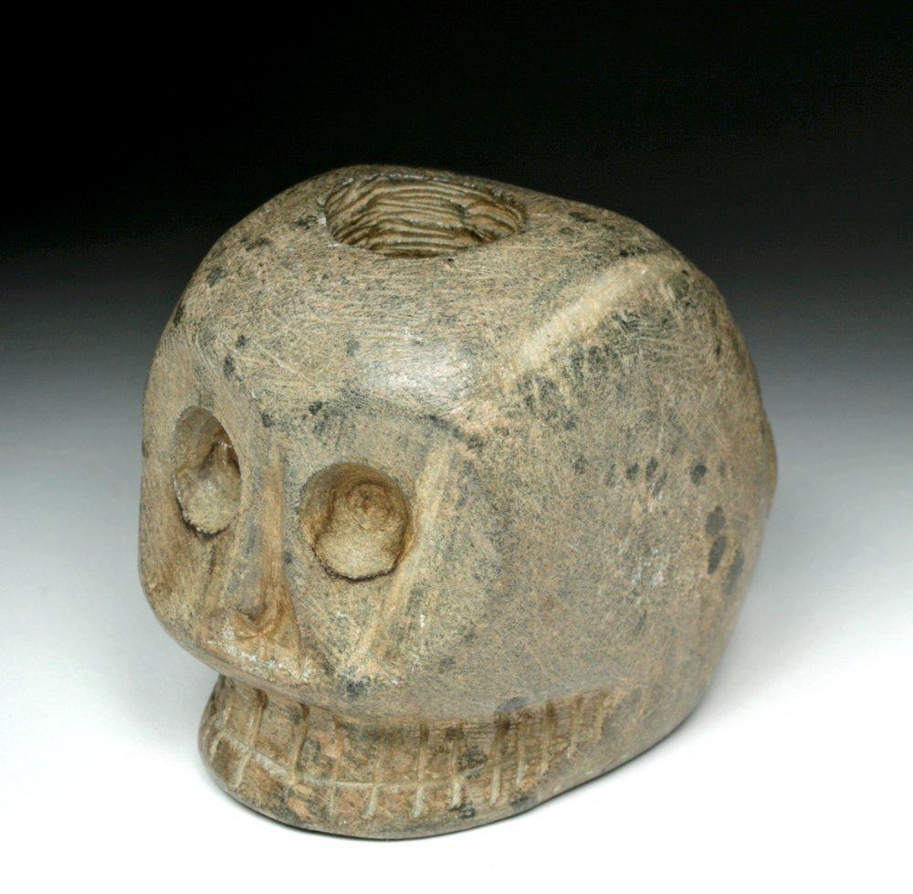 Native American Woodlands Stone Skull Pipe