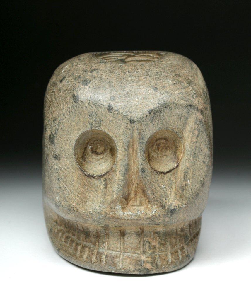 Native American Woodlands Stone Skull Pipe - 3