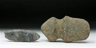 Pair of Native American Stone Tools  Axe  Arrowhead