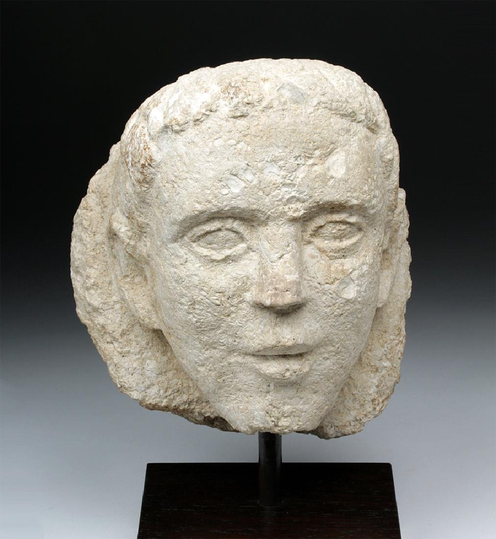 Hellenistic Cypriot Limestone Male Votary Head