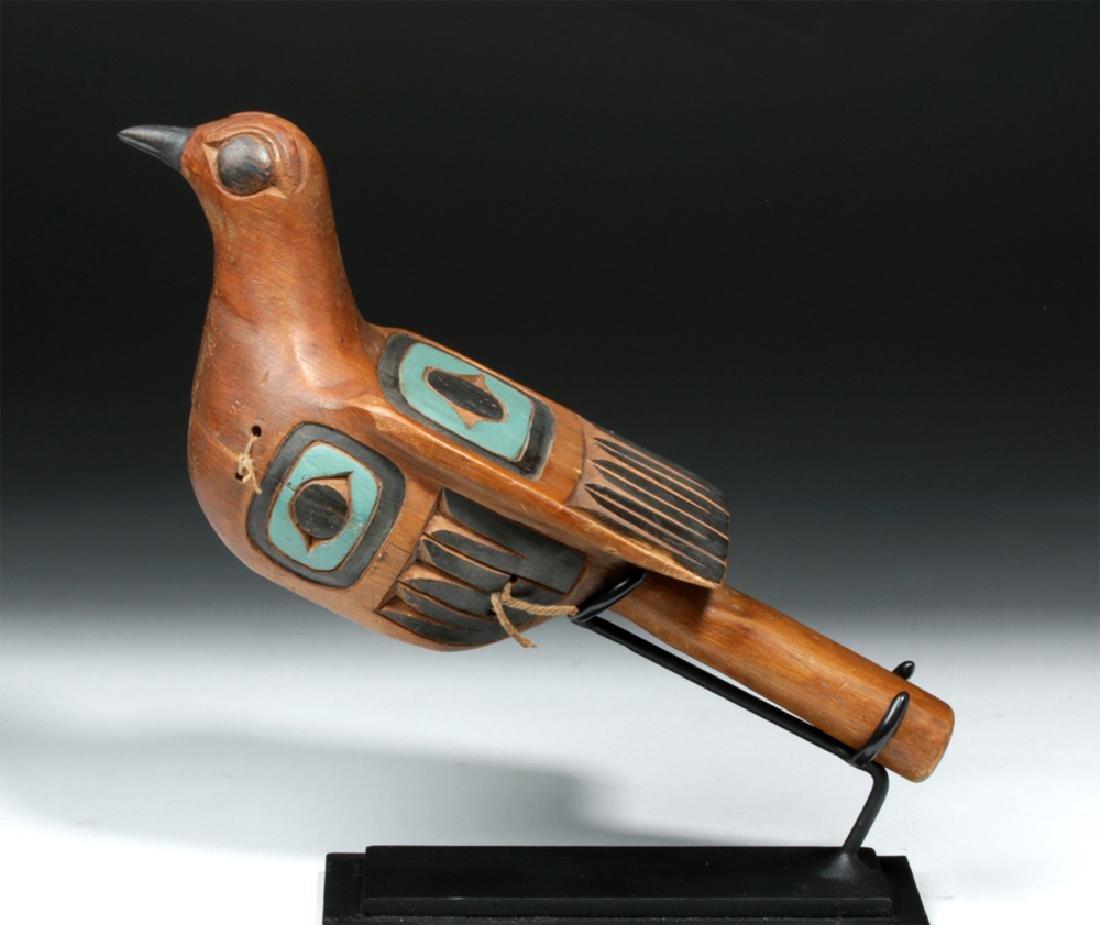 20th C. Northwest Coast Haida Wood Rattle - Bird