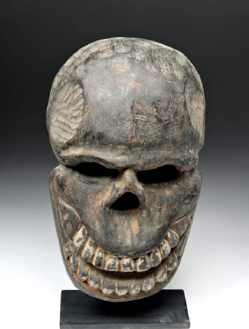Early 20th C Papua New Guinea Wood Skeletal Trophy Head