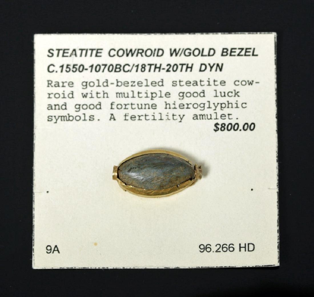 Egyptian Steatite Amulet w/ Gold Bezel, Ex-Mitry