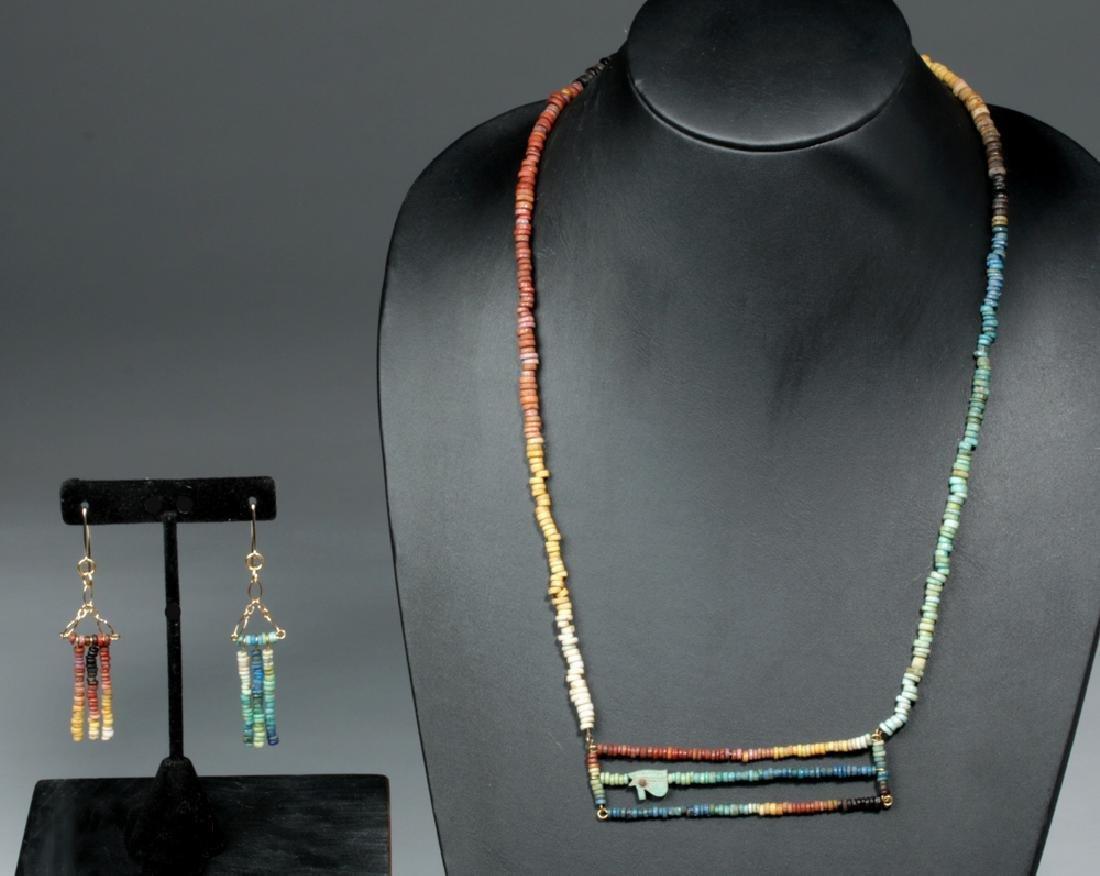 Egyptian Faience Necklace w/ Wadjet Amulet & Earrings