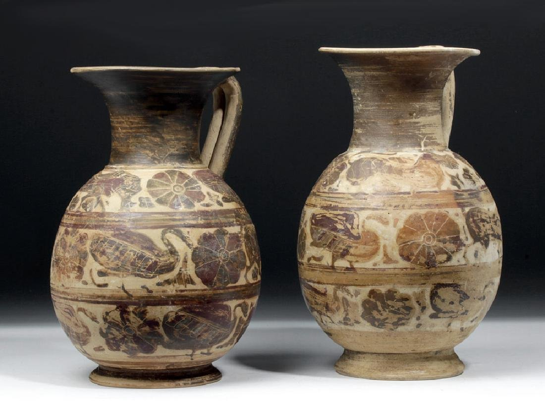 Greek Corinthian Polychrome Olpes - Matched Pair