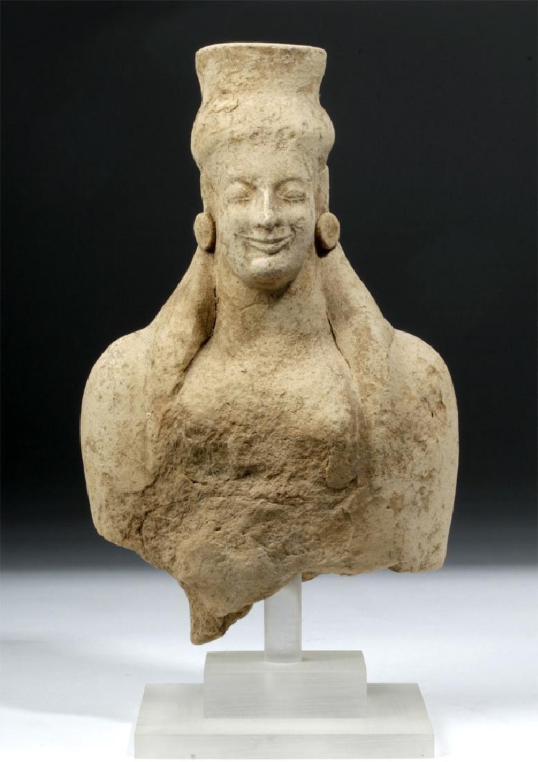 Archaic Greek Pottery Votive Head / Torso of Goddess