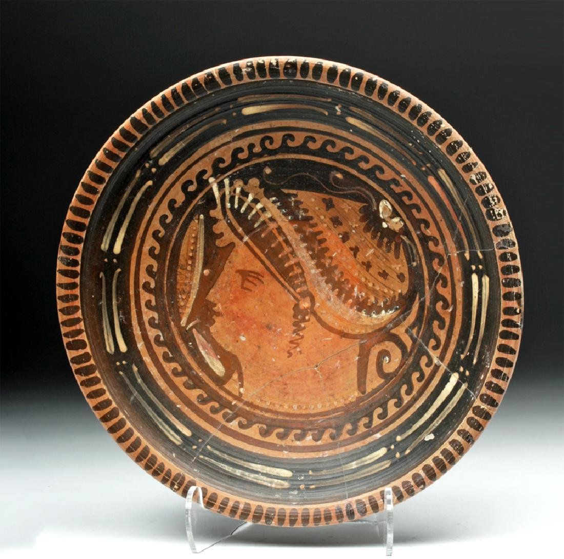 Apulian Red Figure Plate with Lady of Fashion