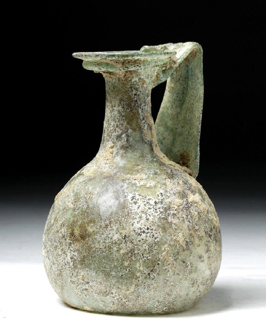 Roman Green Glass Vessel w/ Trail Handle