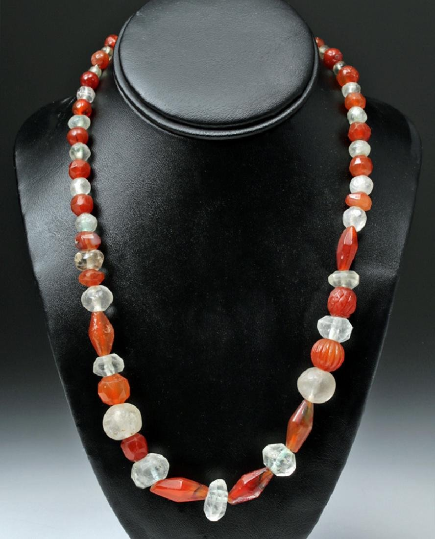 Wearable Bactrian Necklace of Carnelian & Crystal Beads