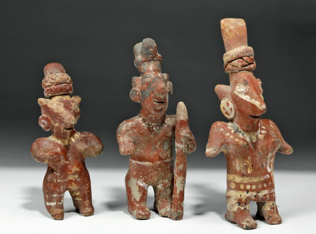 Trio of Jalisco Pottery Sheepface Standing Figures