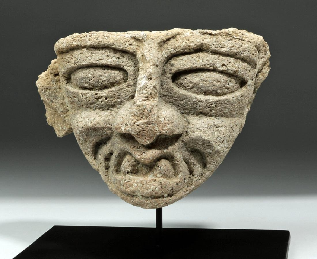 """Teotihuacan Stone Head Fragment - """"Old God of Fire"""""""