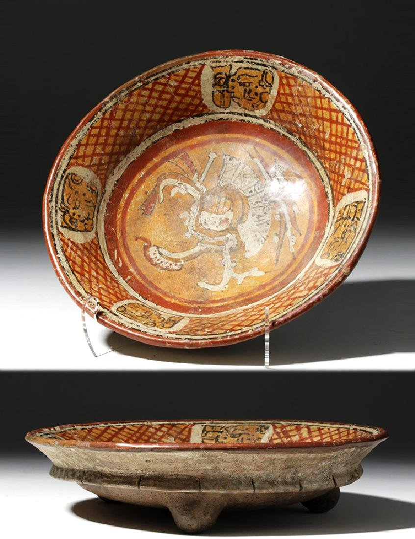 Superb Mayan Polychrome Rattle Tripod Plate with Chaac