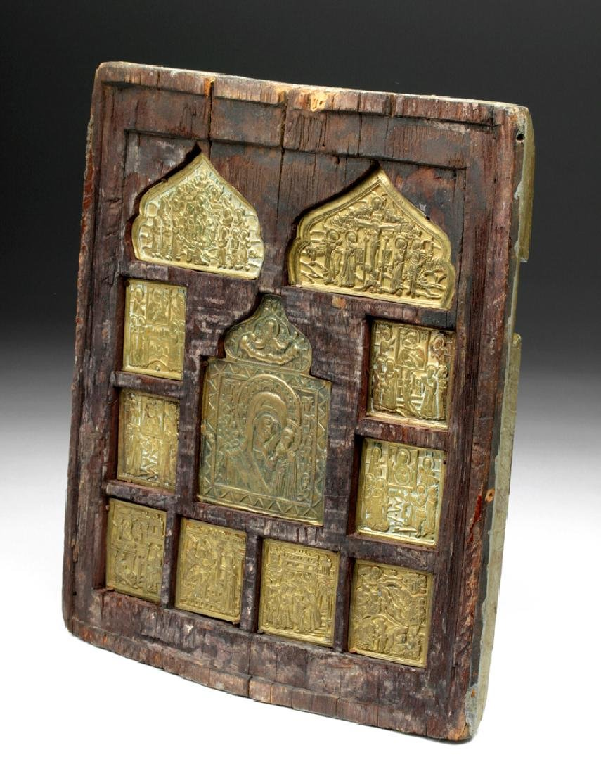 Early 19th C. Russian Wall Brass Panel Icon