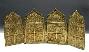 Very Fine 19th C. Russian Brass 4-Panel Traveling Icon
