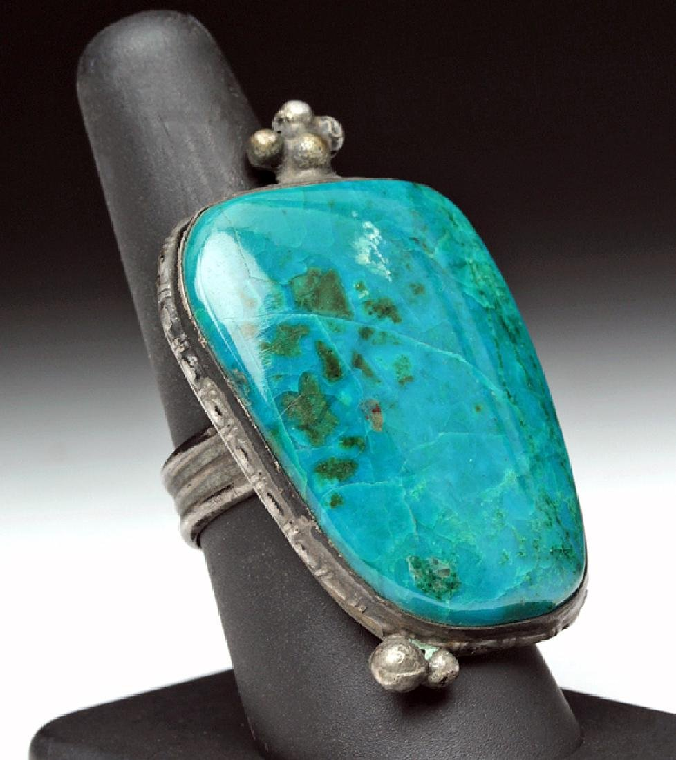 Early 20th C. Mexican Silver & Dark Turquoise Ring
