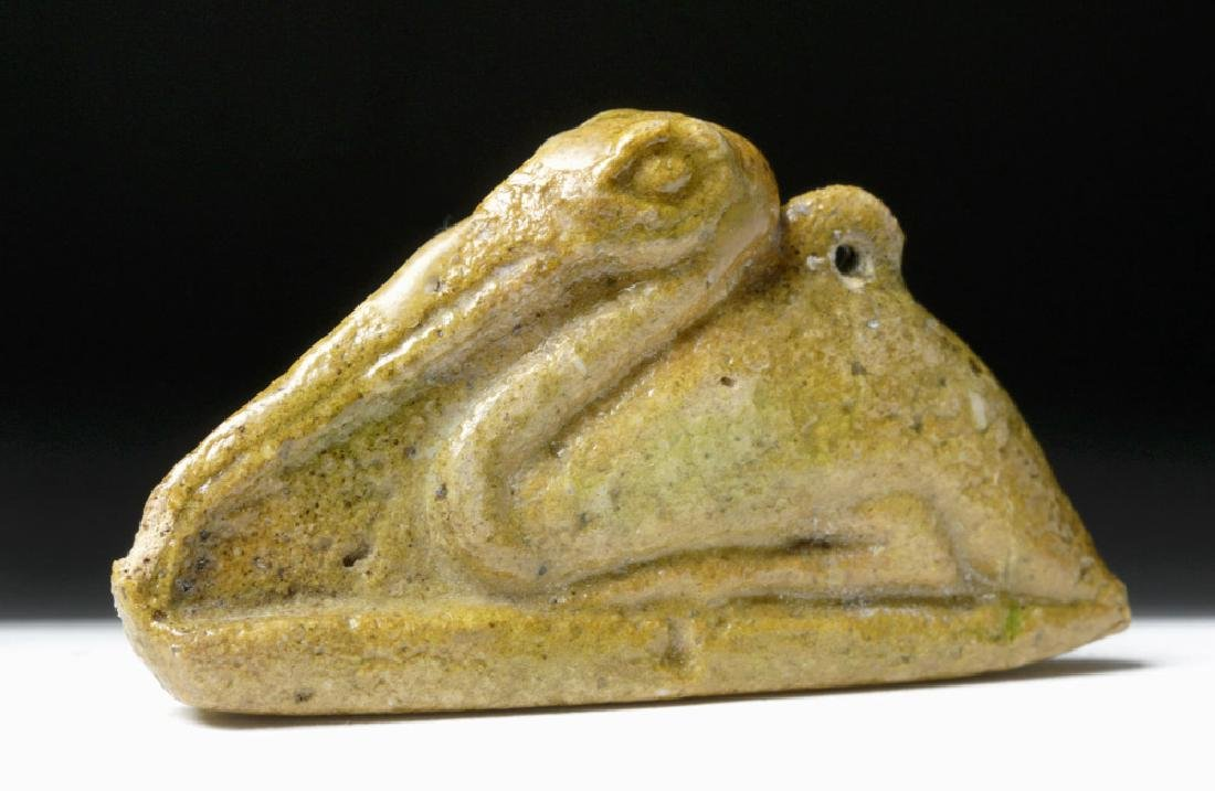Egyptian Yellow Faience Amulet - Seated Ibis