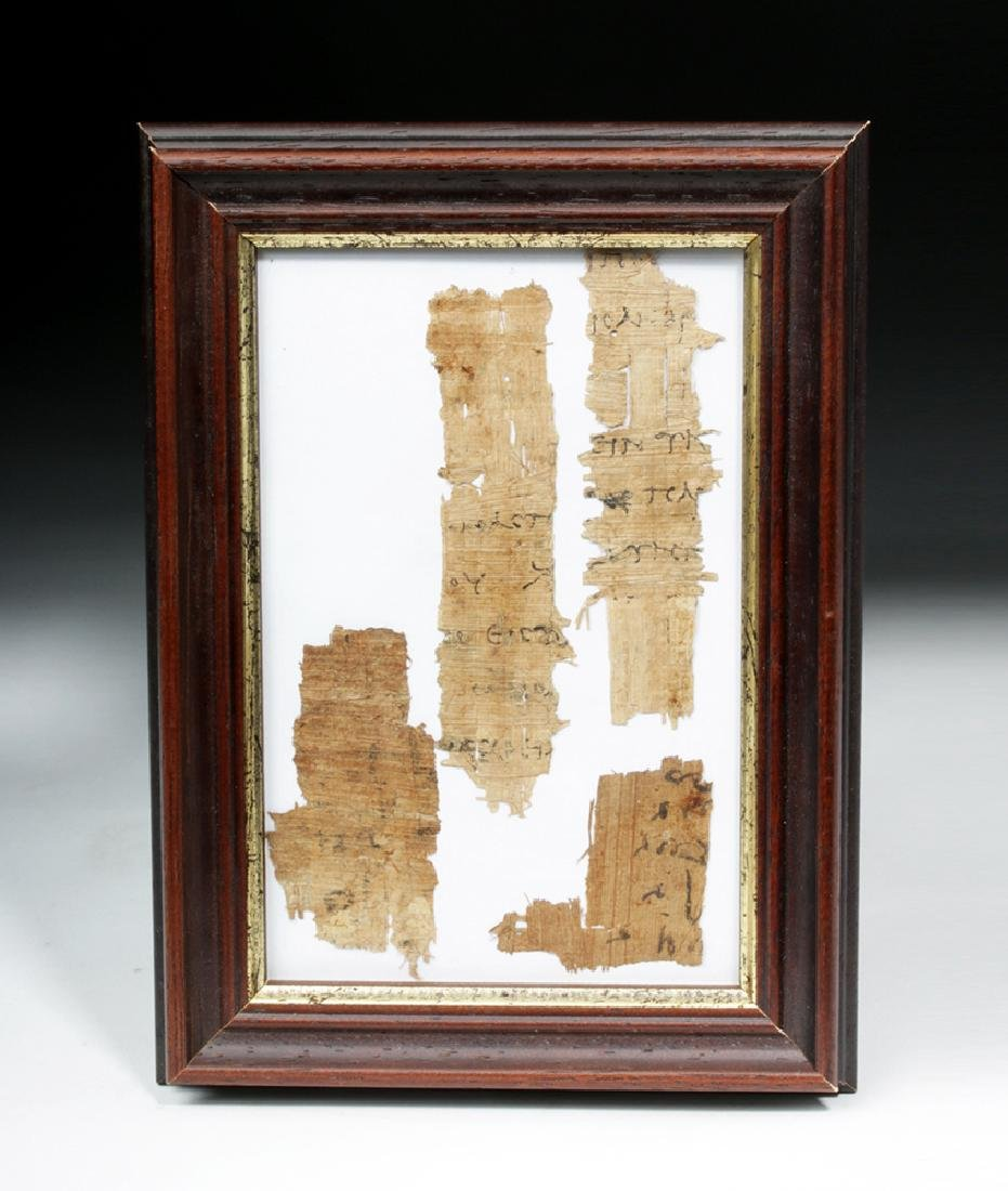 4 Pieces Egyptian Papyrus w/ Ancient Greek Text