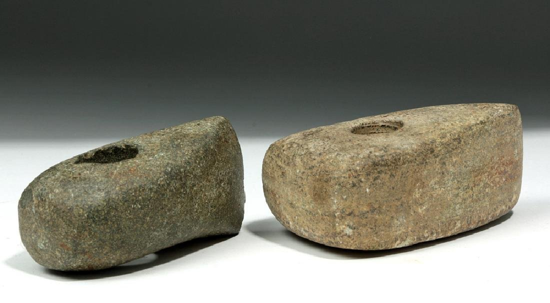 Pair of European Neolithic Stone Boat Axes