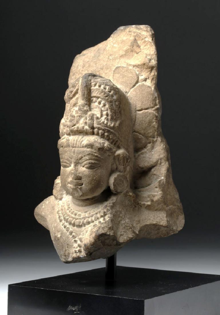 1th C. Indian Red Sandstone Head of Vishnu