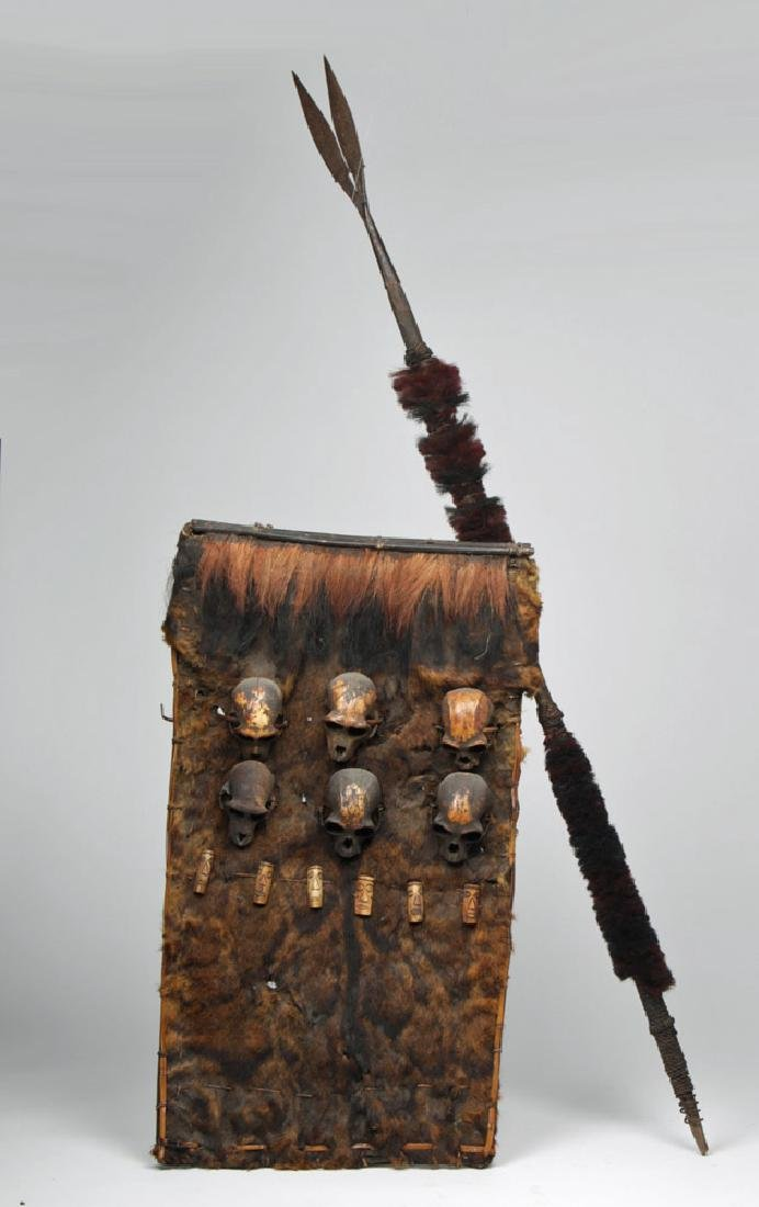 Rare 19th C. Indian Naga Shield & Spear