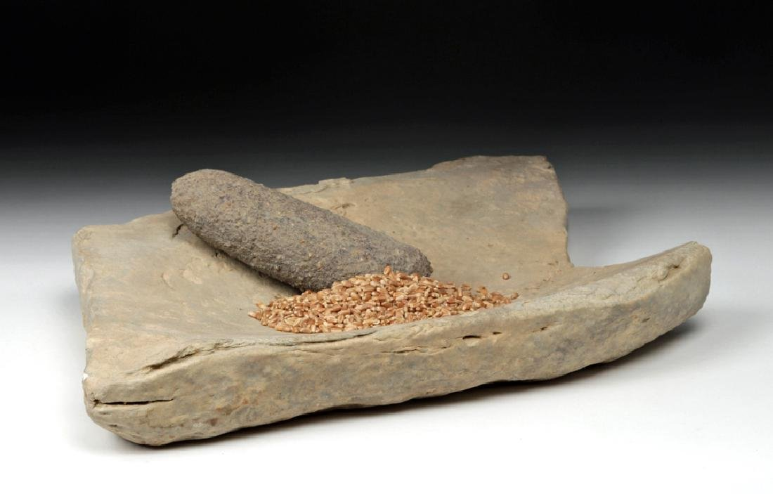Pre-Dynastic Egyptian Grinding Stone + Hand Stone