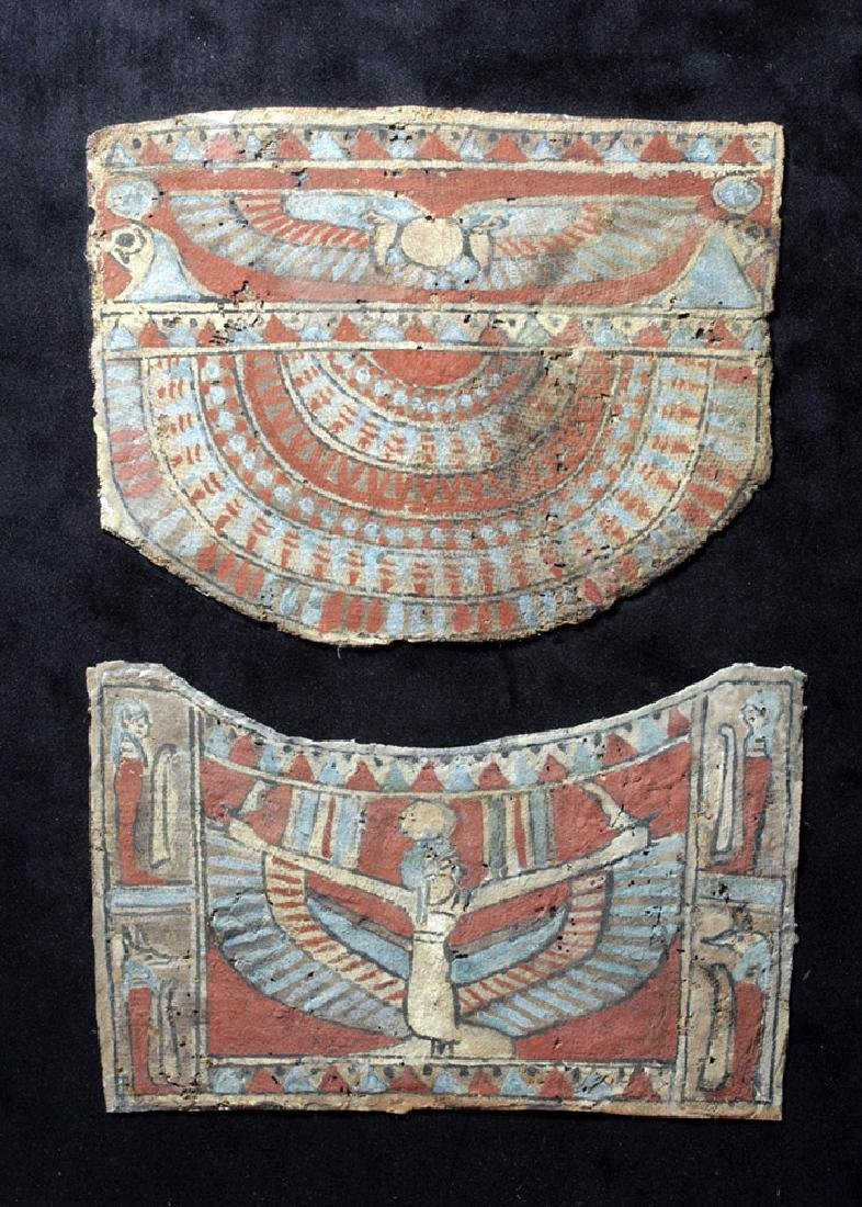 Egyptian Gessoed Sarcophagus Sections - Winged Isis