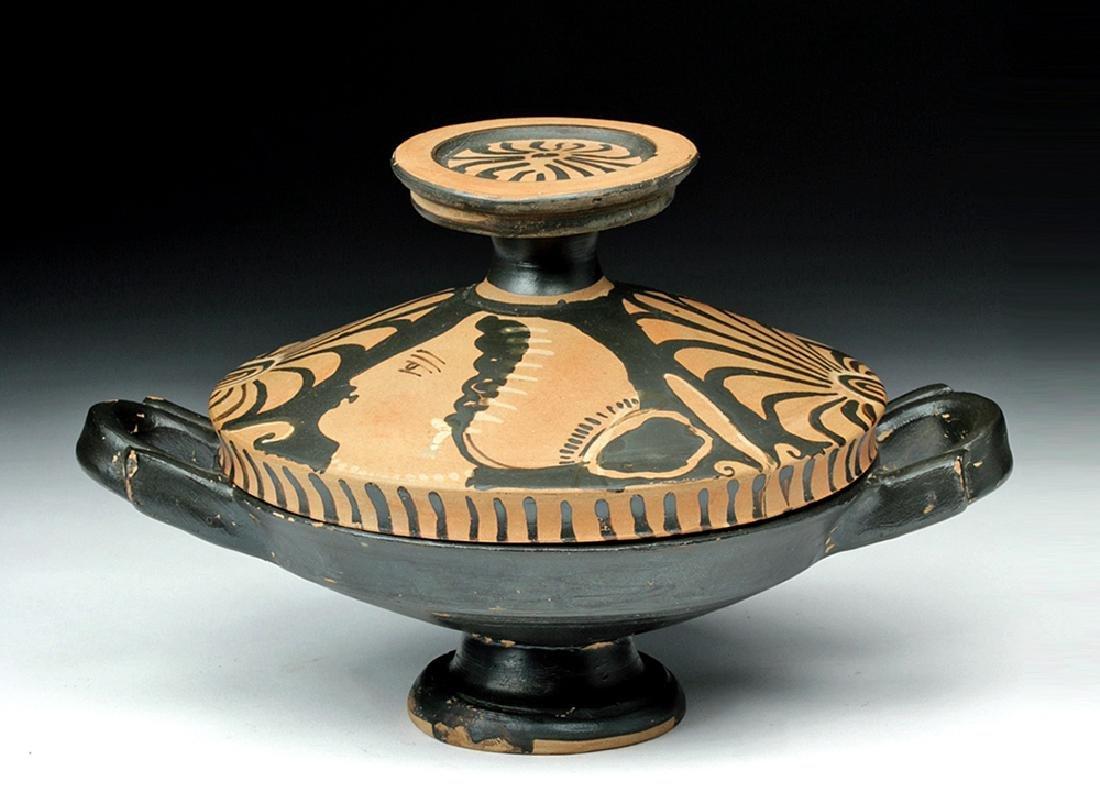 Greek Apulian Pottery Lekanis w/ Lady of Fashion