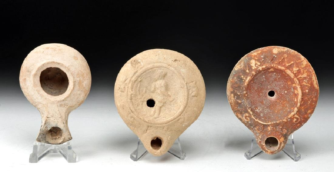 Trio of Roman & Herodian Pottery Oil Lamps