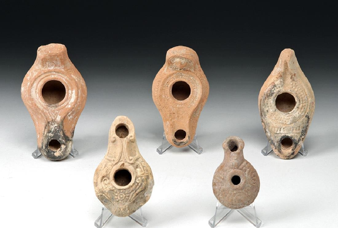 Five Holy Land Pottery Oil Lamps