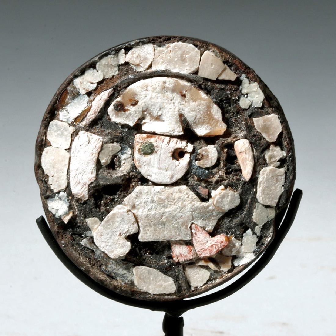 Rare Wari Wood and Shell Ear Spool - Warrior Figure