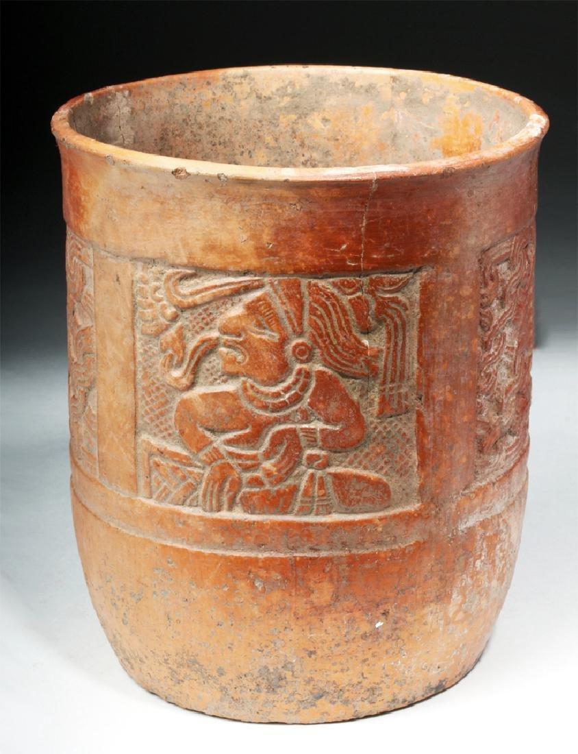 Mayan Carved Orangeware Cylinder - Scribes / Mats