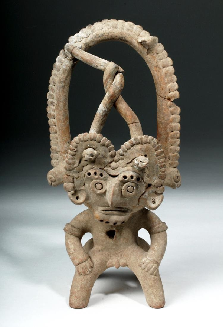Colima Pottery Incensario, Janus\-Headed