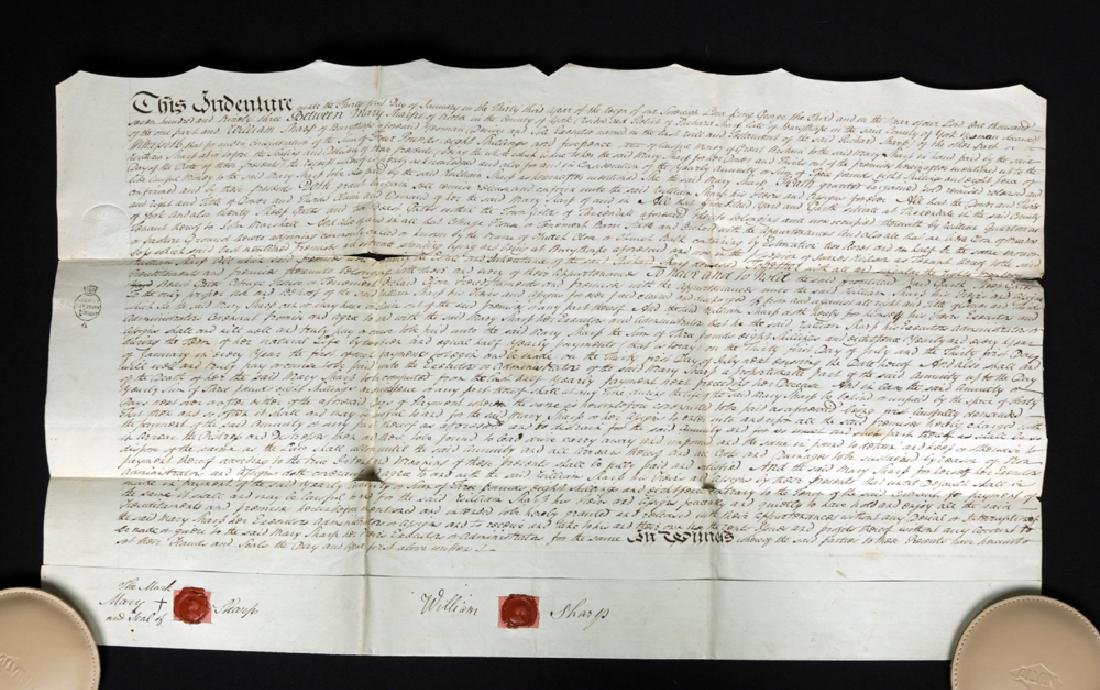 18th C. British Deed from Mary and Mark Sharp