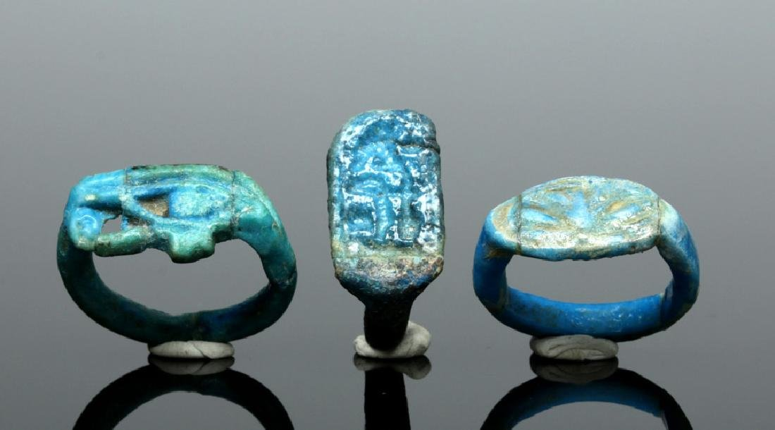 Trio of Egyptian Faience Rings