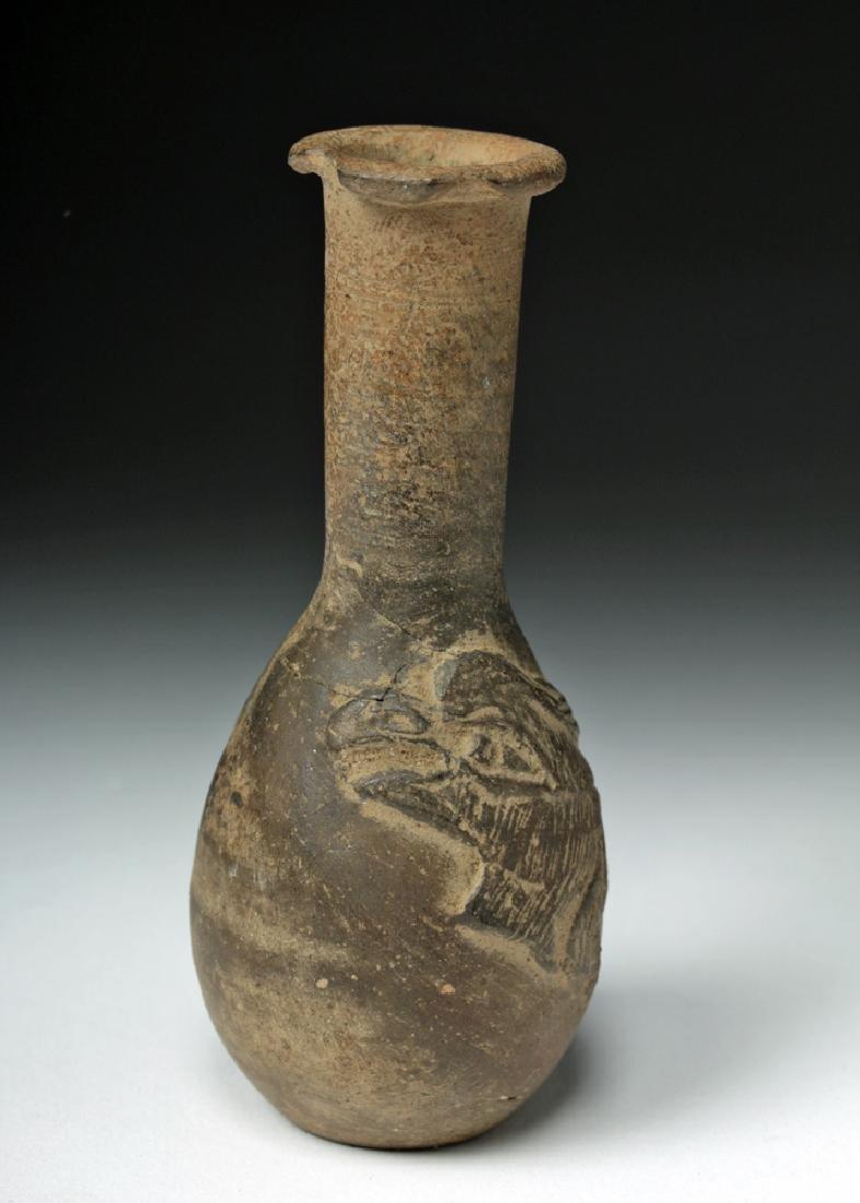 Rare Greek Hellenistic Pottery Flask - Avian Motif - 2