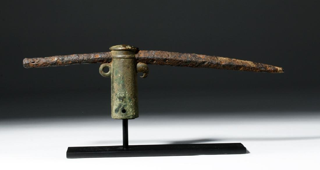 Roman Bronze Socketed Iron Pike - Parrot Decoration
