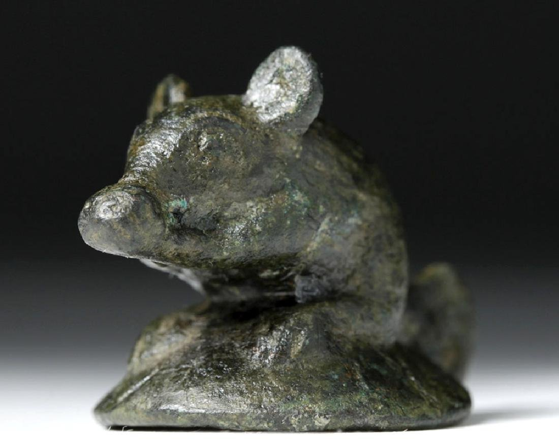 Roman Bronze Lamp Finial - Adorable Mouse - 5
