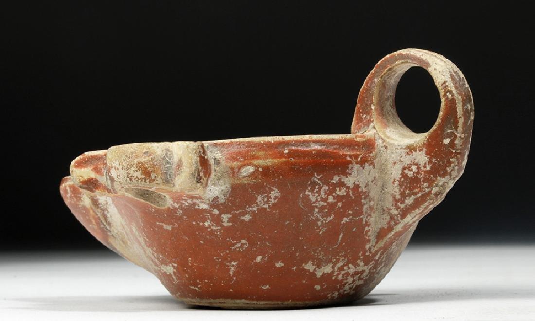 Roman Redware Oil Lamp w/ Planta Pedis - 5