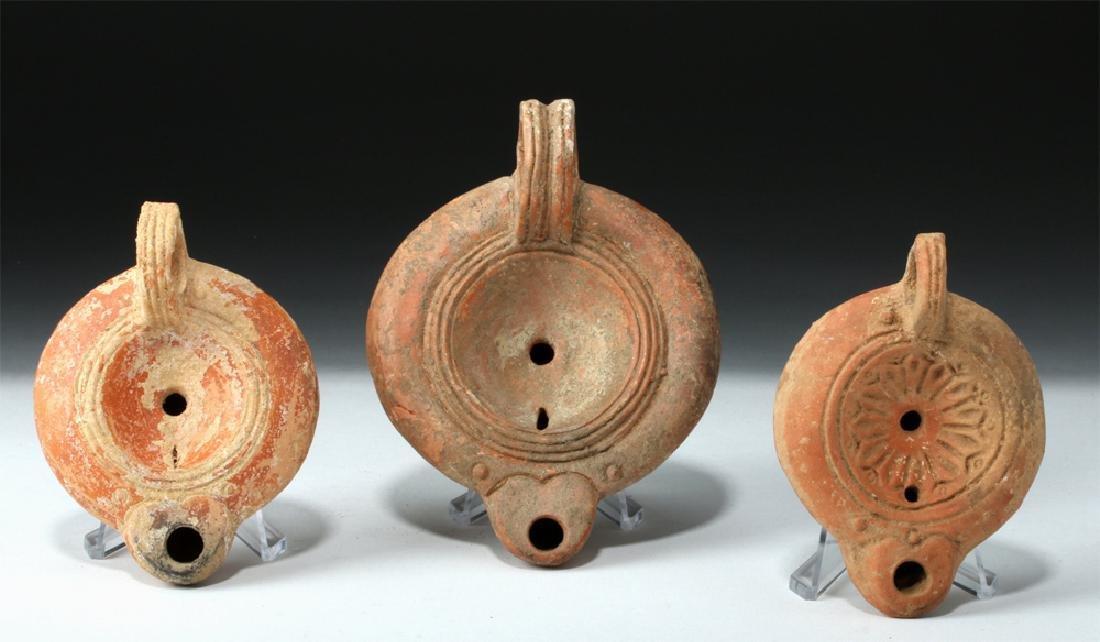 Lot of 3 Roman Pottery Oil Lamps - Found in Turkey
