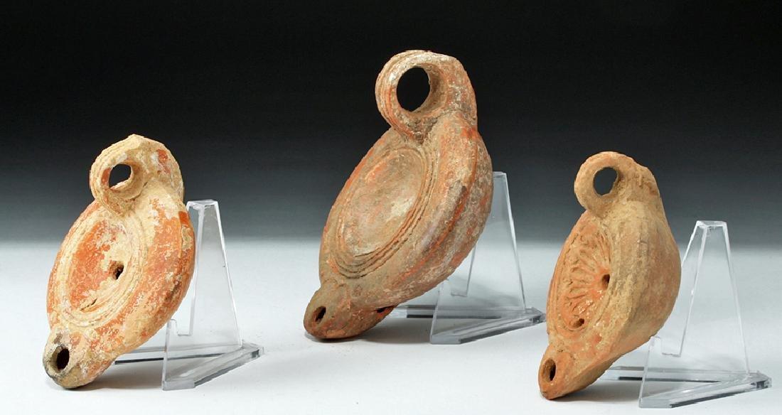 Lot of 3 Roman Pottery Oil Lamps - Found in Turkey - 2