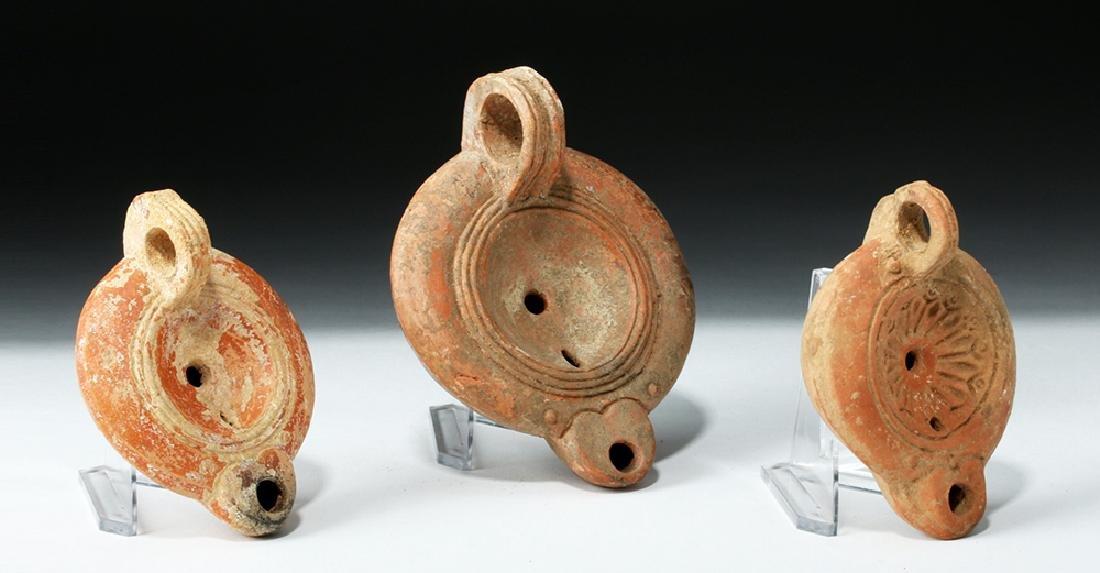Lot of 3 Roman Pottery Oil Lamps - Found in Turkey - 3