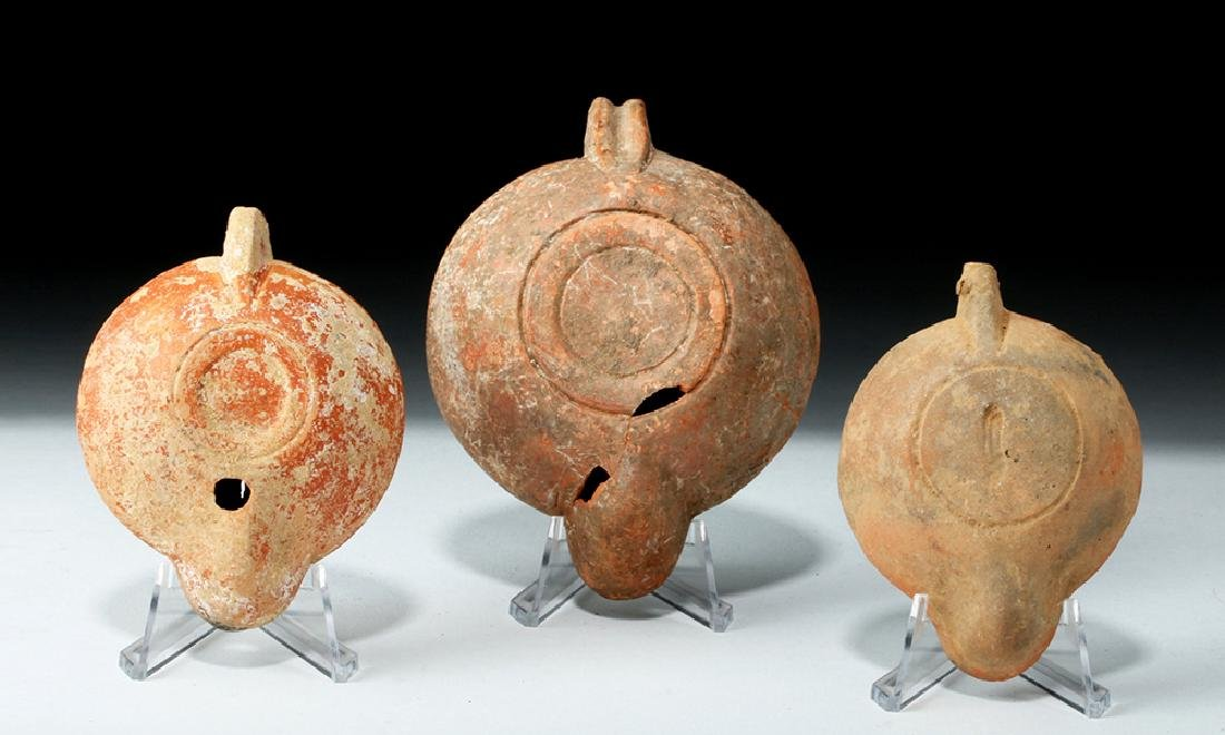 Lot of 3 Roman Pottery Oil Lamps - Found in Turkey - 4