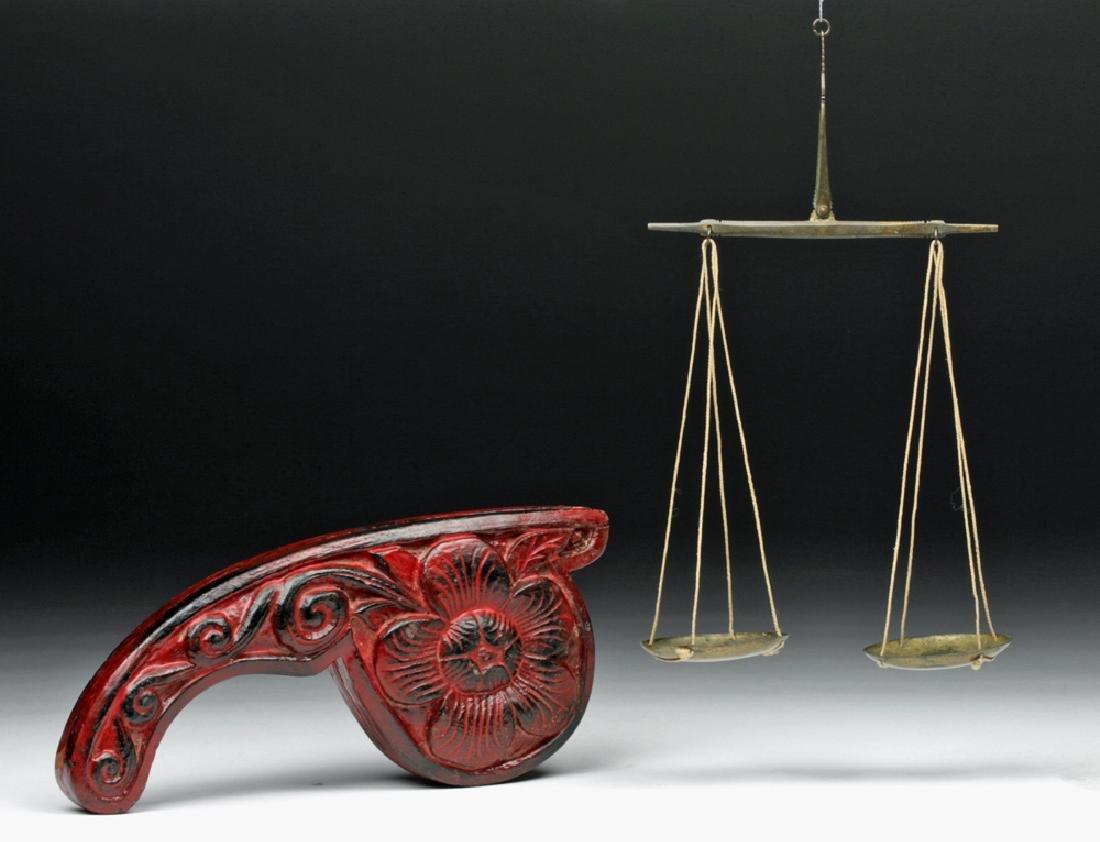 19th C. Indian Wood/ Brass Opium Scale (Dotchin)