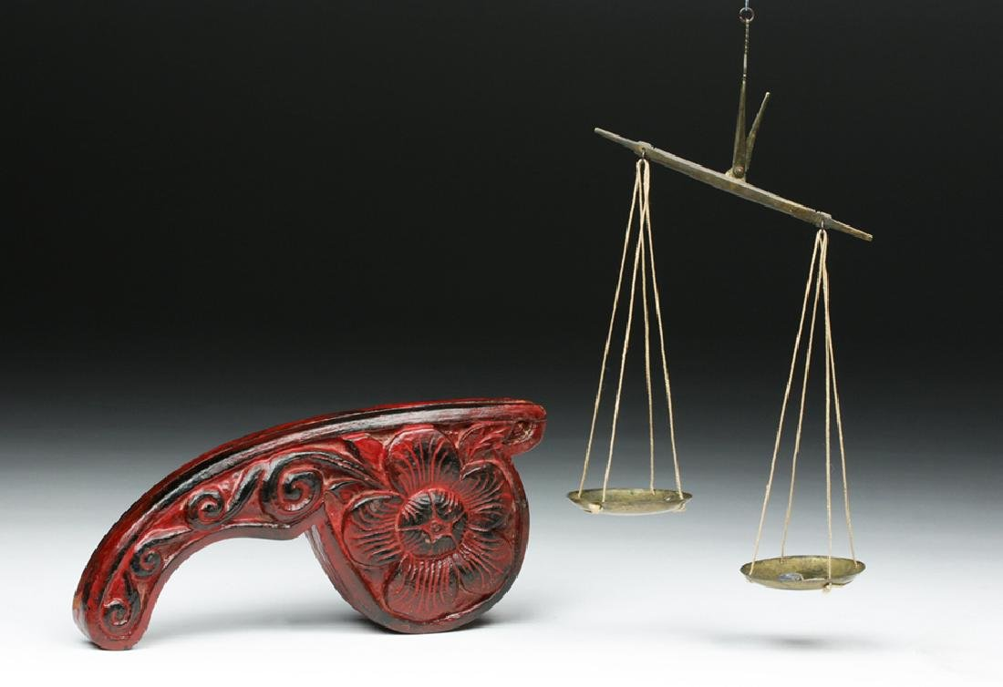 19th C. Indian Wood/ Brass Opium Scale (Dotchin) - 2