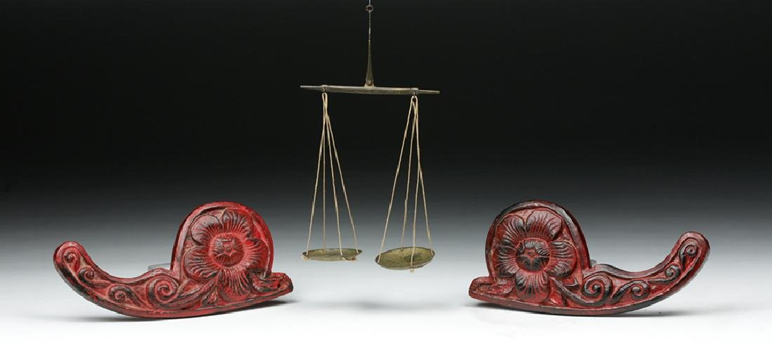 19th C. Indian Wood/ Brass Opium Scale (Dotchin) - 4