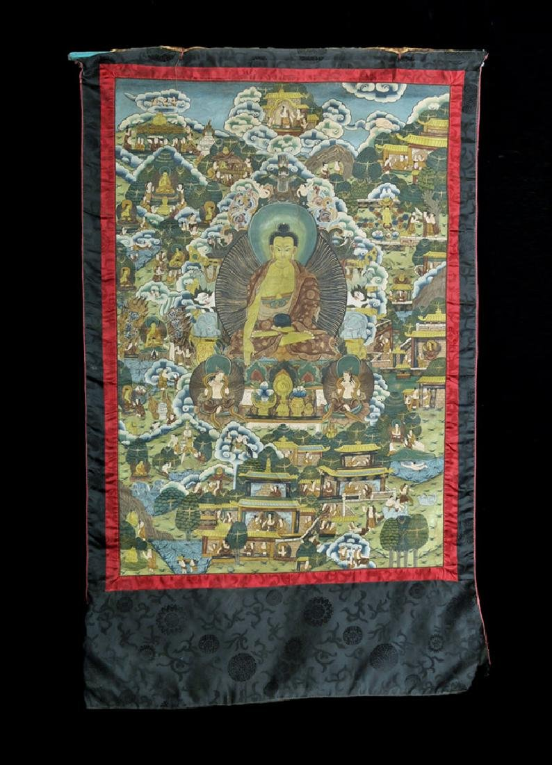 Early 20th C. Tibetan Thangka - Life of Buddha