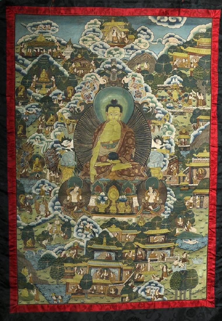 Early 20th C. Tibetan Thangka - Life of Buddha - 2