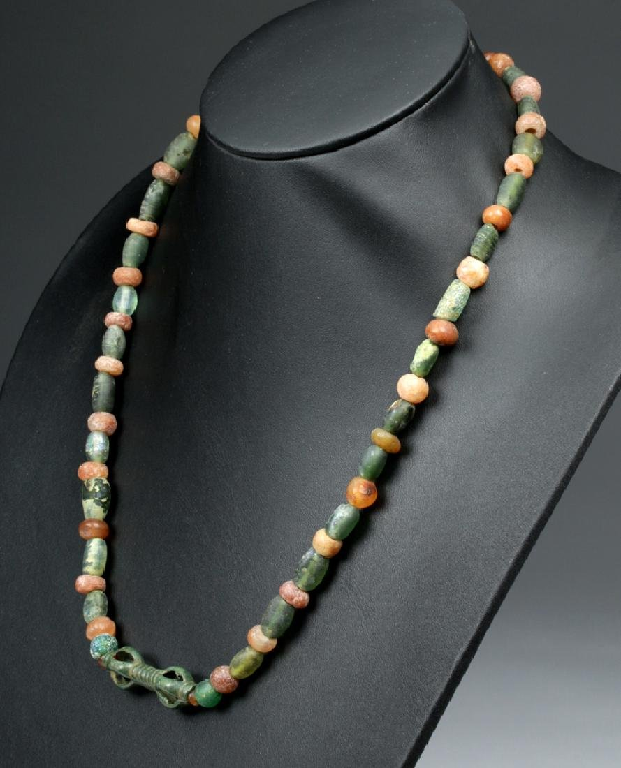 Viking Glass / Carnelian Bead Necklace w/Bronze Pendant