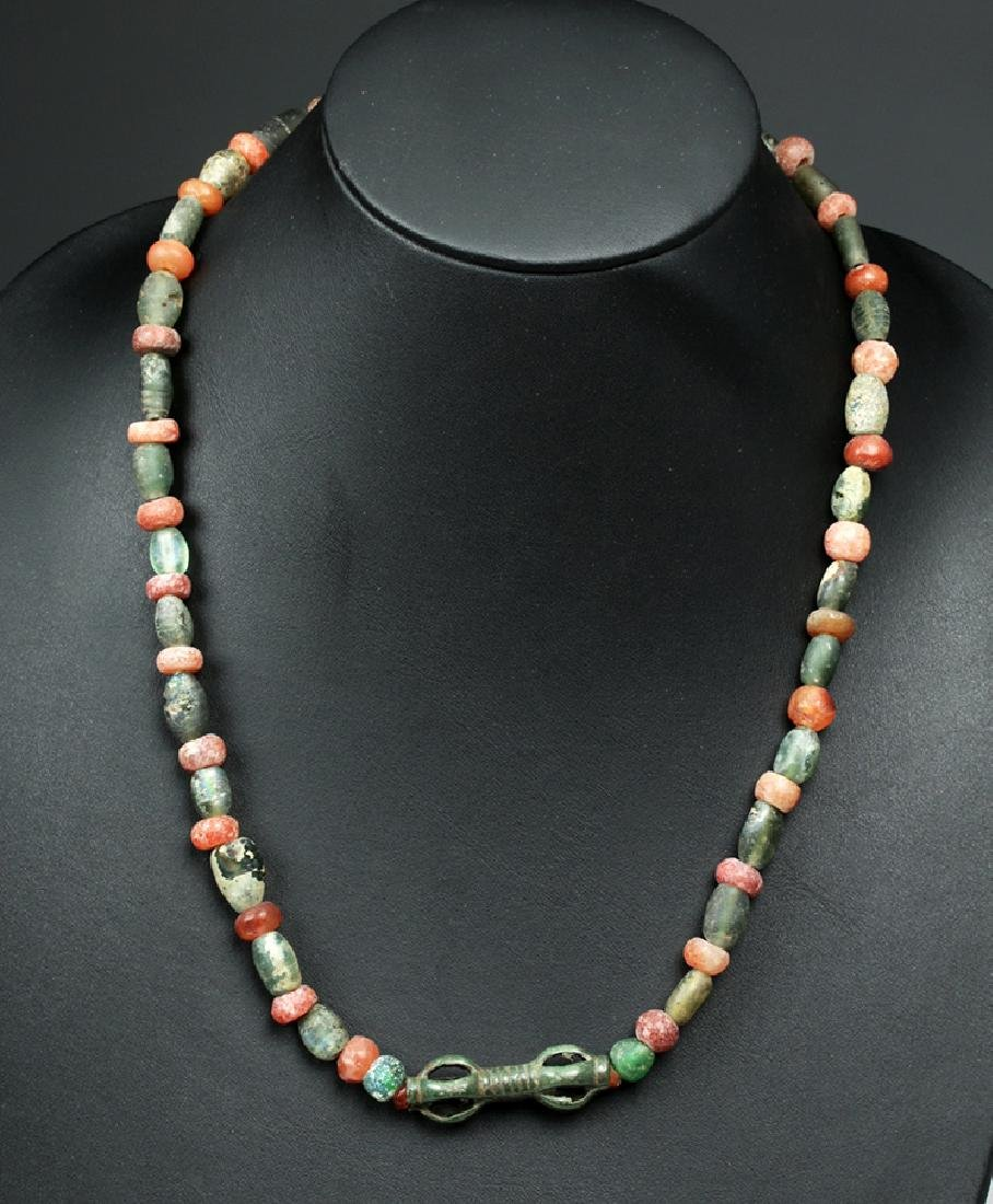 Viking Glass / Carnelian Bead Necklace w/Bronze Pendant - 2