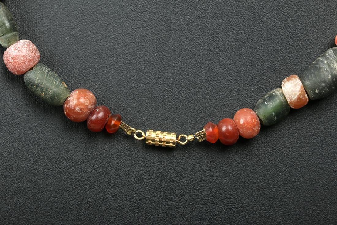 Viking Glass / Carnelian Bead Necklace w/Bronze Pendant - 5